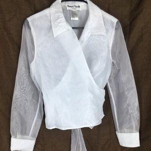 Ronni Nicole sheer white formal blouse